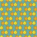 Yellow funny fish seamless pattern. Vector illustration