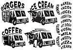 Set of vector mobile shops, vans, food trucks with various inscriptions