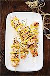 Salmon and lemon kebabs