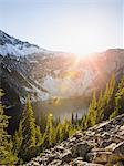 Sunlight on cascade mountain range, Diablo, Washington, USA