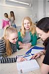Teenage girls learning in classroom