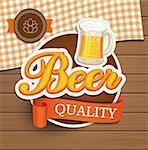 Vintage beer quality emblem, label and design element, vector illustration.