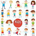 Cartoon Illustration of Cute Children and Teens Characters Big Set