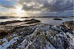 Scottish coast at sunrise in spring at Mallaig in Scotland, United Kingdom