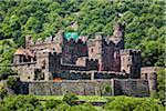The medieval Reichenstein Castle (Falkenburg) at Trechtingshausen along the Rhine between Rudesheim and Koblenz, Germany