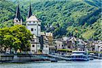 Ferry docks at Boppard along the Rhine between Rudesheim and Koblenz, Germany