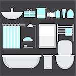 Modern bathroom ocons set in flat style - Vector illustration