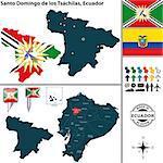 Vector map of province of Santo Domingo de los Tsachilas with flags and location on Ecuadorian map