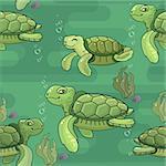 Vector seamless pattern. Cute cartoon sea Turtle. Green Turtles on aquamarine background.