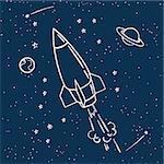 rocket flies into space cute space travel tee print design