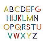 Colorful funny font. Vector english minimalisitc alphabet.