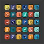 Colorfol english alphabet. Latin minimalistic letters with flat shadow.
