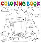 Coloring book mine entrance - eps10 vector illustration.