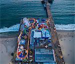 Rides at amusement park, overhead view, Santa Monica, California, USA