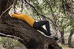 Woman lying on tree trunk, sleeping