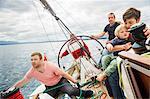 Four generation family on sailing boat, Geneva, Switzerland, Europe