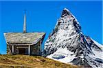 Chapel in front of the Matterhorn from Riffelberg at Zermatt, Switzerland