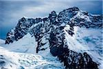 Snow covered mountain tops of the Pennine Alps at Zermatt in Switzerland