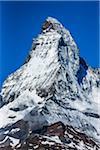 Close-up of the snow covered Matterhorn summit on a sunny day at Zermatt, Switzerland