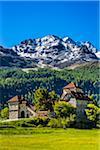 The Crap da Sass Castle on the shores of Lake Silvaplana near St Moritz, Switzerland
