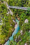 Bridge crossing the Leutasch Spirit Gorge (Leutascher Geisterklamm) in Leutasch, Austria