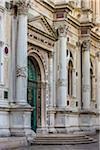 Close-up of entrance to the Scuola Grande di San Rocco at Campo San Rocco in Venice, Italy
