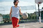 Man on basketball court playing basketball game