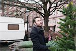Man choosing Christmas tree