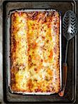 close up of rustic italian lasagna