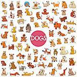 Cartoon Illustration of Dogs Pet Animal Characters Big Set