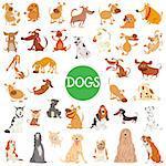 Cartoon Illustration of Cute Dogs Pet Animal Characters Big Set