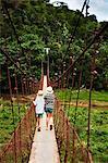Children walking on rope bridge