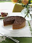 Chocolate cake on serving platter