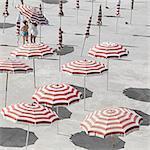 High angle view of parasols at beach during summer