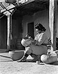 1930s NATIVE AMERICAN INDIAN WOMAN DECORATING POTTERY COCHITI PUEBLO NEW MEXICO USA