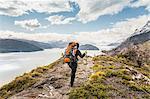 Rear view of female hiker hiking alongside Grey glacier lake, Torres del Paine National Park, Chile