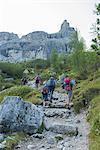 walking to Tuckett refuge Europe, Italy, Trentino, Vallesinella, Madonna di Campiglio, Tuckett refuge