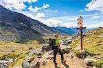 Alpine signage leading to the Careser Lake Europe, Italy, Trentino region, Venezia Valley, Sun valley, Pejo, National park Stelvio