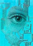 Cyborg eye, illustration.