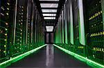 Glowing panels in dark server room