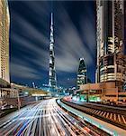 Cityscape of Dubai, United Arab Emirates at dusk, with skyscrapers, illuminated Burj Kalifa in the centre.