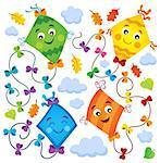 Happy flying kites thematic set 1 - eps10 vector illustration.