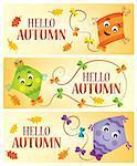 Hello autumn theme banners 1 - eps10 vector illustration.