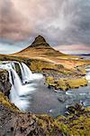 Grundafjordur, Snaefellsnes Peninsula, Western Iceland, Iceland. Kirkjufell mountain and Kirkjufellfoss waterfall