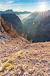 The sun rises over the Travenanzes Valley,Cortina d'Ampezzo,Belluno district,Veneto,Italy,Europe