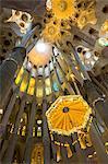 Spain, Barcelona, Sagrada Familia, Interior