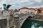 Europe, Slovenia, Ljubjana. The Dragon bridge (Zmajski most) on the Ljubljanica River