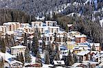 View of the alpine village of Arosa framed by snowy woods district of Plessur Canton of Graubünden Switzerland Europe