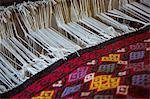 High angle view of fabric handloom weaving machine
