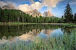 Cadini di Misurina group is reflected in Lake Antorno at sunset. Auronzo of Cadore Veneto Sesto Dolomites Italy Europe